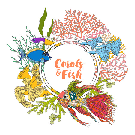 coral colored: Coral reef with corals and fish. Card, banner with space for text. Colored Vector illustration. Illustration