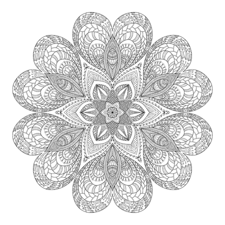Decorative mandala with Love hearts. Coloring book for adult and older children. Coloring page. Outline drawing.