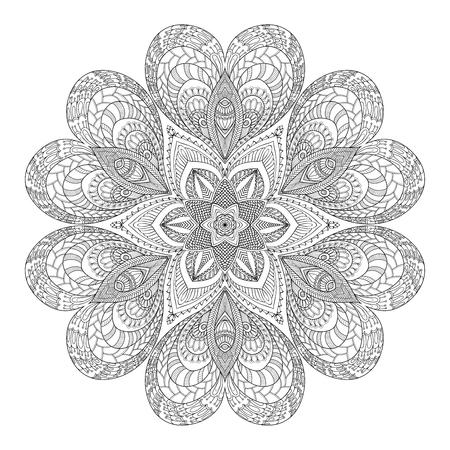 Mandala decorativo con cuori di amore. Libro da colorare per adulti e bambini più grandi. colorare. Disegno del contorno. Archivio Fotografico - 61441601