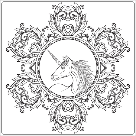 Unicorn in vintage decorative floral mandala frame. Vector illustration. Coloring book for adult and older children. Outline drawing coloring page.