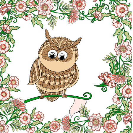 living wisdom: Cute colored owl with flowers. Vector illustration. Illustration