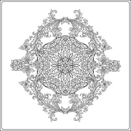 Patrón Real Floral Del Medieval. Arabescos Simetría Decorativa ...