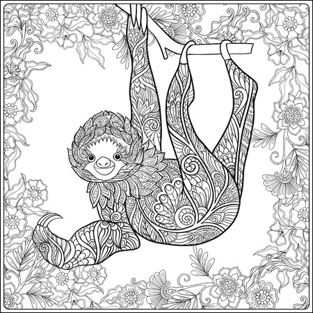 Coloring page with lovely sloth in forest. Coloring book for adult and older children. Vector illustration. Outline drawing. Vectores
