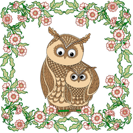 Cute colored owl with flowers. Vector illustration. Ilustracja