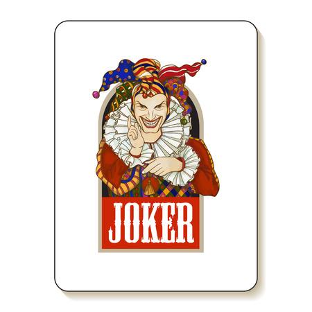 joker playing card: Joker playing card design. Men in joker costume. Colored vector illustration.