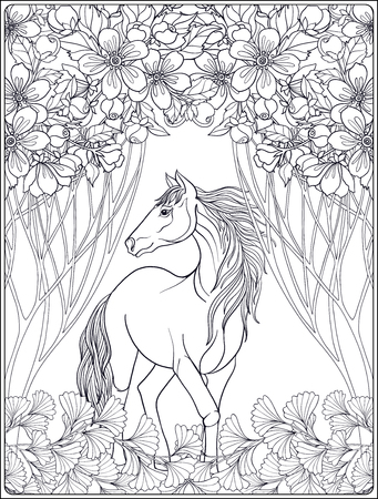 Horse in garden. Vector illustration. Coloring book for adult and older children. Outline drawing coloring page.