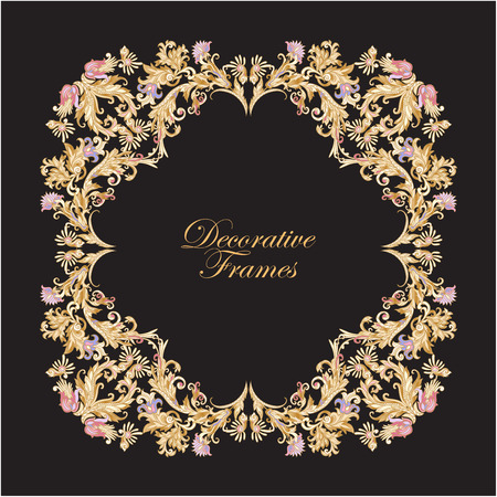 middle age: Decorative wintDecorative vintage floral frame in middle age style. Vector illustration.