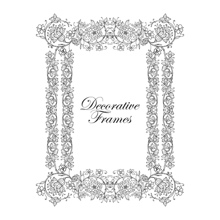 middle age: Decorative vintage floral frame in middle age style. Vector illustration. Coloring book for adult and older children. Outline drawing coloring page.