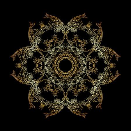 Beautiful Deco Vintage flowers Mandala , Gold outline on black background. Patterned Design Element, Ethnic Amulet Vector illustration.