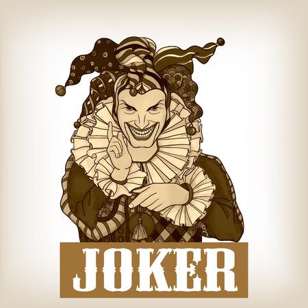 design costume: Joker playing card design. Men in joker costume. Colored vector illustration.