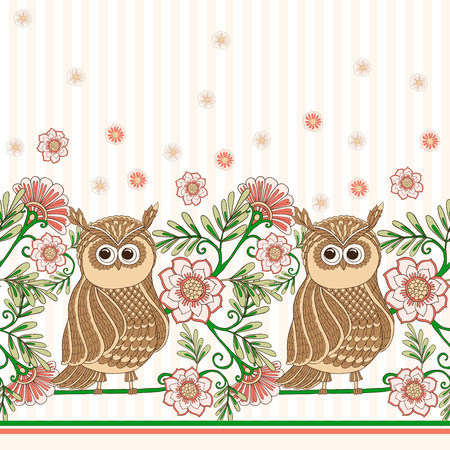 living wisdom: Vector hand drawn colored decorative owl seamless pattern.