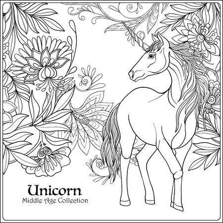 Pferd Im Vintage Dekorativen Blumenmandala Rahmen. Vektor ...