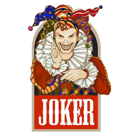 Joker playing card design. Men in joker costume. Colored vector illustration.