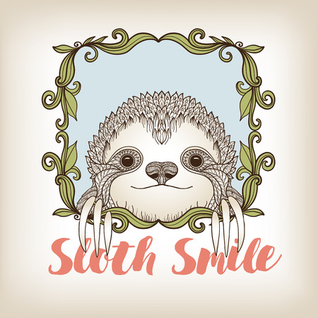 Sloth in decorative frame. Vector illustration. Sketch for tattoo, poster, print or t-shirt.