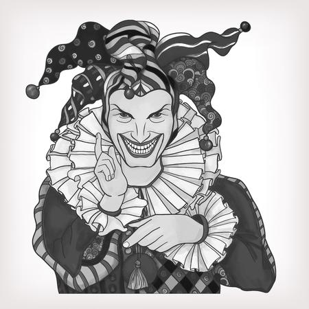 joker playing card: Joker playing card design. Men in joker costume. Grayscale vector illustration.