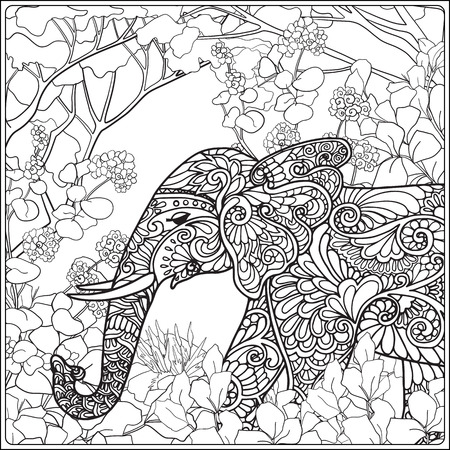 relax garden: Coloring page with elephant in forest. Coloring book for adult and older children. Vector illustration. Outline drawing.