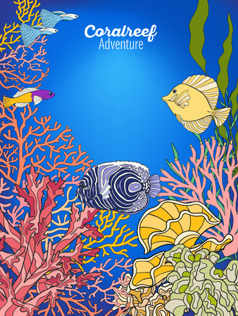Underwater world coral reef. Banner with space for text. Corals, fish and seaweeds. Colored vector illustration. Illustration