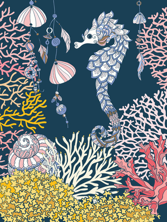 Coral reef collection. Corals, fish and sea shells on bottom composition. Vector illustration. Ilustração