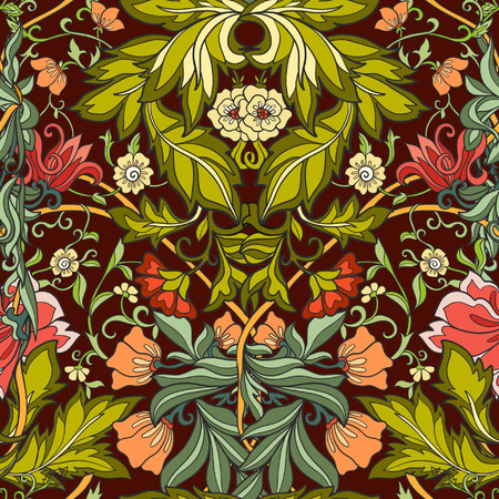 middle ages: Floral seamless pattern in middle ages style. Colored vector illustration.