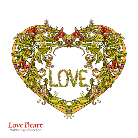 jewels: Decorative Love Heart in rococo, victorian, renaissance, baroque, royal style. Good for greeting card for birthday, invitation or banner. Vector illustration. Illustration