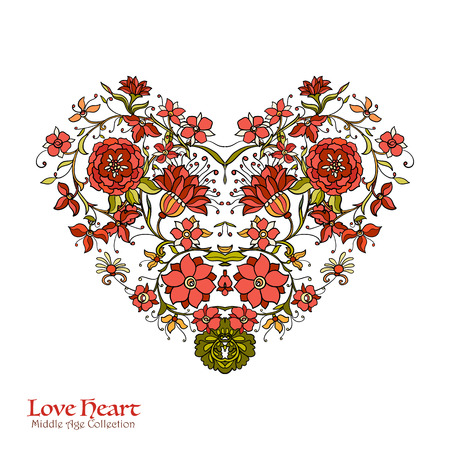 Decorative Love Heart in rococo, victorian, renaissance, baroque, royal style. Good for greeting card for birthday, invitation or banner. Vector illustration. Illustration