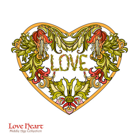 king and queen of hearts: Decorative Love Heart in rococo, victorian, renaissance, baroque, royal style. Good for greeting card for birthday, invitation or banner. Vector illustration. Illustration
