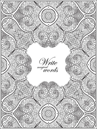 Ornamental pattern with decorative frame for text. Anti-stress relaxation Coloring book for adult and older children. Outline drawing coloring page.  Vector illustration. Illustration