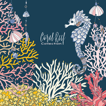 Coral reef collection. Corals, fish and sea shells on bottom composition with space for text. Vector illustration.