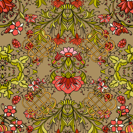 antique wallpaper: Floral seamless pattern in middle ages style. Colored vector illustration.