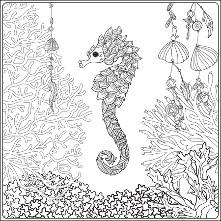 composition book: Coral reef collection. Corals, fish and sea shells on bottom composition. Vector illustration. Coloring book for adult and older children. Outline drawing coloring page. Illustration