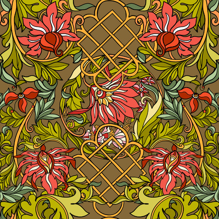 flower age: Floral seamless pattern in middle ages style. Colored vector illustration.