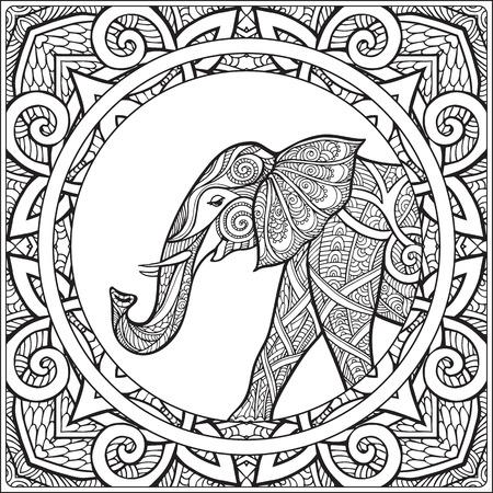 Dibujo para colorear con el elefante en el marco mandala decorativa. Libro de colorante para los adultos y niños mayores. Ilustración del vector. Dibujo de esquema.