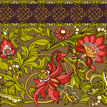 Floral seamless pattern in middle ages style. Colored vector illustration.