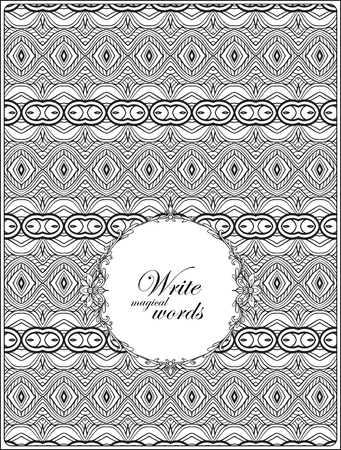 superscription: Ornamental pattern with decorative frame for text. Anti-stress relaxation Coloring book for adult and older children. Outline drawing coloring page.  Vector illustration. Illustration