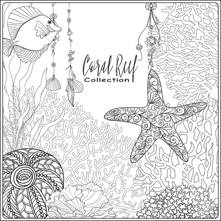 composition book: Coral reef collection. Corals, fish and sea shells on bottom composition with space for text. Vector illustration. Coloring book for adult and older children. Outline drawing coloring page. Illustration