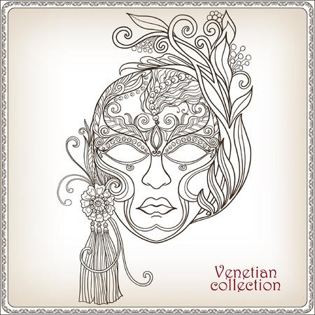 Venetian mask, carnival costume Outline hand draw. Vector illustration.