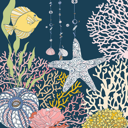 bottom of the sea: Coral reef collection. Corals, fish and sea shells on bottom composition. Vector illustration. Illustration