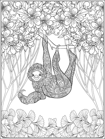 relax garden: Coloring page with lovely sloth in forest. Coloring book for adult and older children. Vector illustration. Outline drawing. Illustration