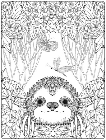 Coloring page with lovely sloth in forest. Coloring book for adult and older children. Vector illustration. Outline drawing. Vettoriali