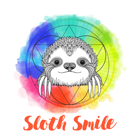 Sloth on background with sacred geometry symbol and rainbow watercolor background. Vector illustration. Sketch for tattoo, poster, print or t-shirt. Illustration