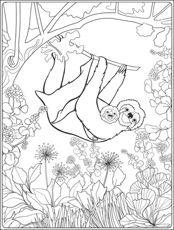 oso perezoso: Coloring page with lovely sloth in forest. Coloring book for adult and older children. Vector illustration. Outline drawing. Vectores