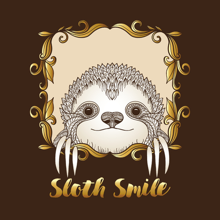 decorate notebook: Sloth in decorative frame. Vector illustration. Sketch for tattoo, poster, print or t-shirt.