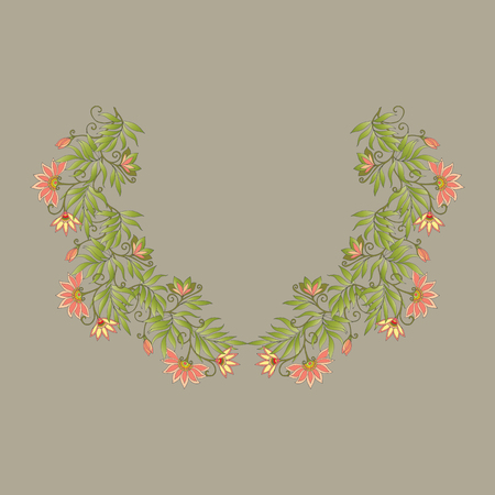 middle ages: Neck line embroidery designs with middle ages floral pattern.