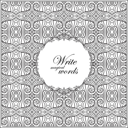 Ornamental pattern with decorative frame for text. Anti-stress relaxation Coloring book for adult and older children. Outline drawing coloring page.