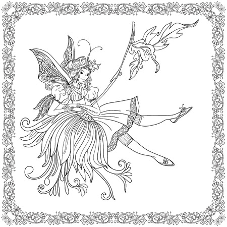 Fairy with butterfly wings on swing in decorative frame.