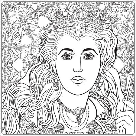 Queen on medieval floral pattern background.  Coloring book for adult and older children. Outline drawing coloring page. Illustration