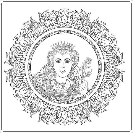 Regina su medievale sfondo motivo floreale. Libro da colorare per adulti e bambini più grandi. Disegno del contorno da colorare.