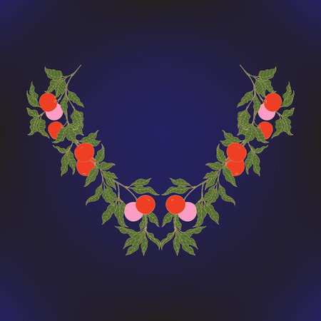 Neck line embroidery designs with middle ages floral pattern.