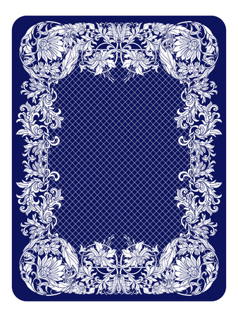 reverse: Playing card back side with vintage pattern. Illustration