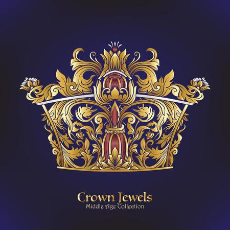 Decorative kings crown. victorian, renaissance, baroque, royal style.